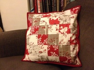 Quilted cushion close up
