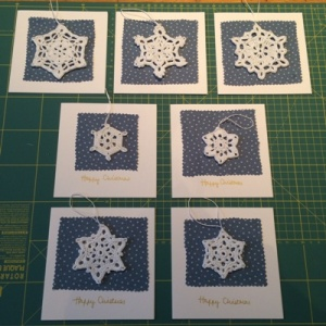The finished cards - winging their way to Christmas trees soon