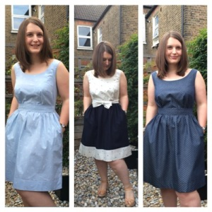 Three dresses, in varying shades of blue. I am nothing if not predictable.