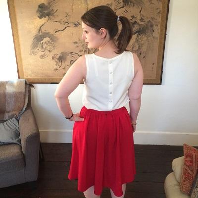 50s pleated skirt back