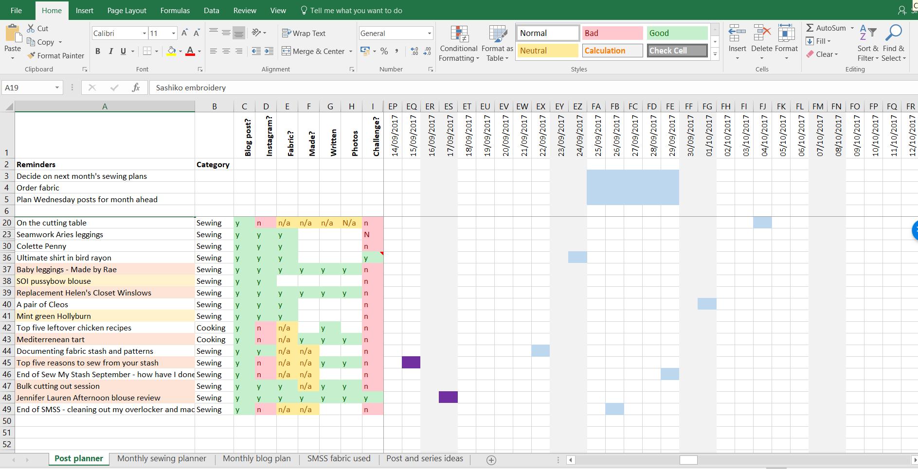 Excel planner
